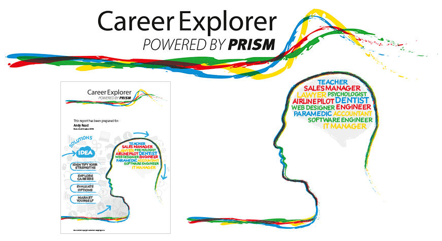 PRISM Career Explorer identity and graphics