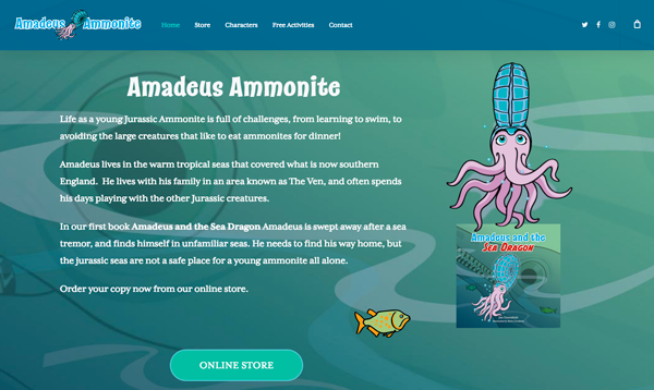 Amadeus Ammonite children's book website