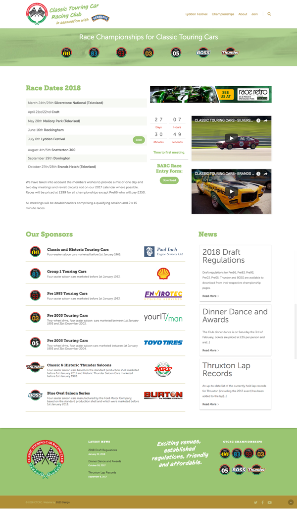 Classic Touring Car Racing Club Website