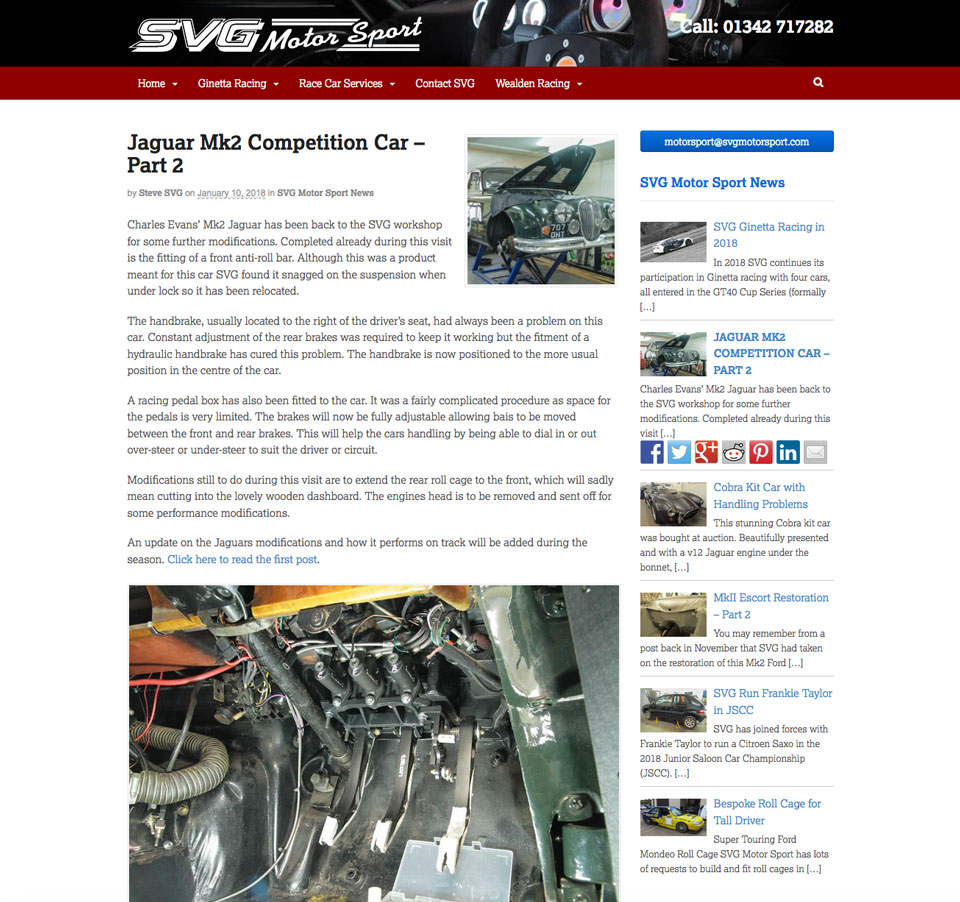 SVG Motor Sport website, near Crawley