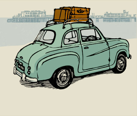Linocut illustration of an Austin A30
