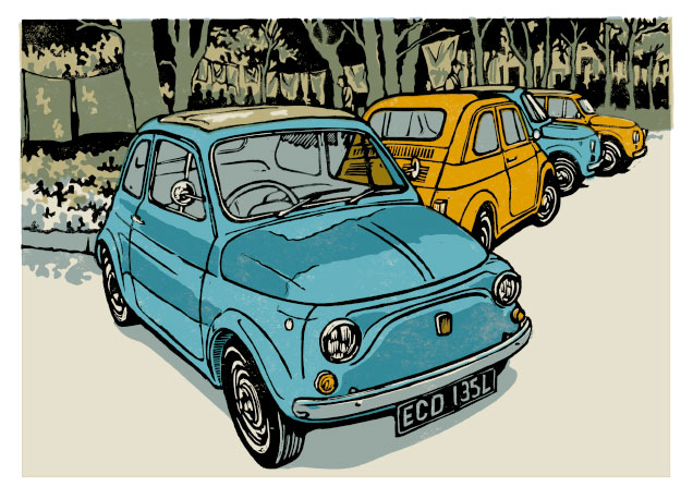 Linocut illustration of Fiat 500s