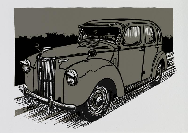 Linocut illustration of a Ford Prefect