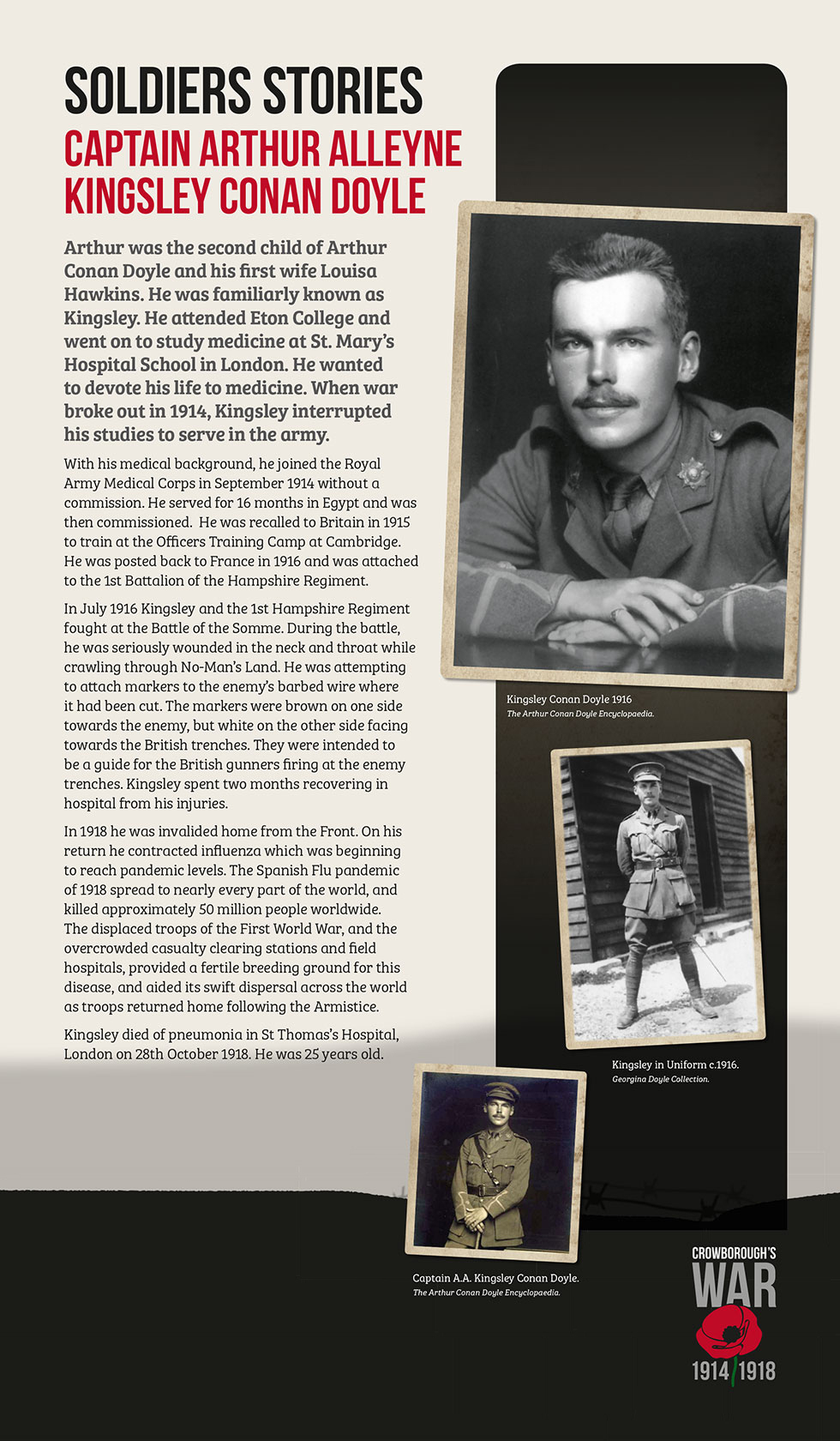 Crowborough's War Exhibition Captain Arthur Alleyne Kingsley Conan Doyle
