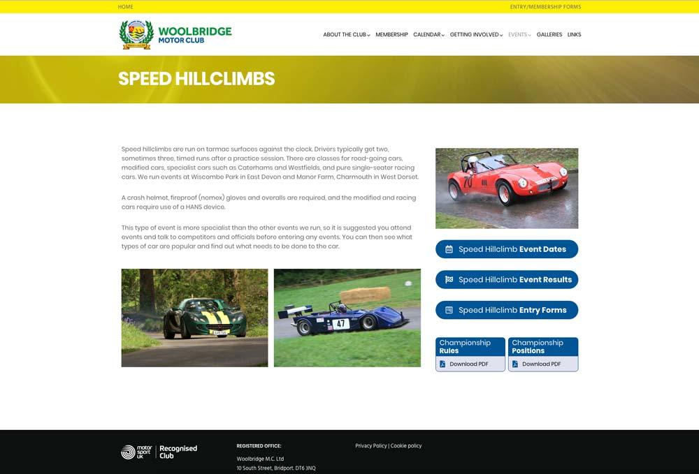 Wordpress website for Woolbridge Motor Club