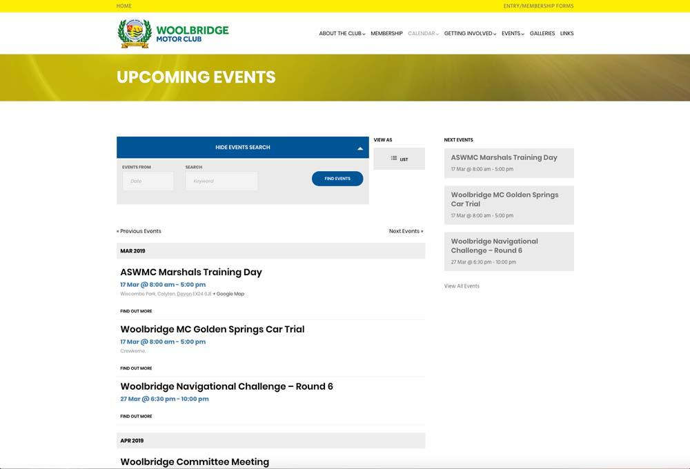 Wordpress events calendar system