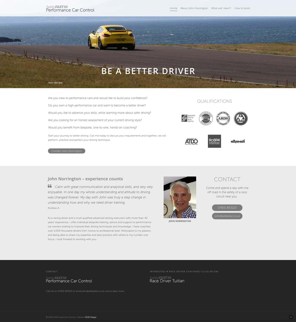 Performance driving coach website