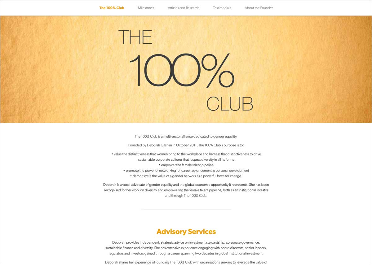 The 100% website home page
