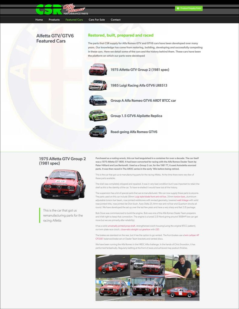 CSR Alfa Romeo Performance Parts website featured cars page