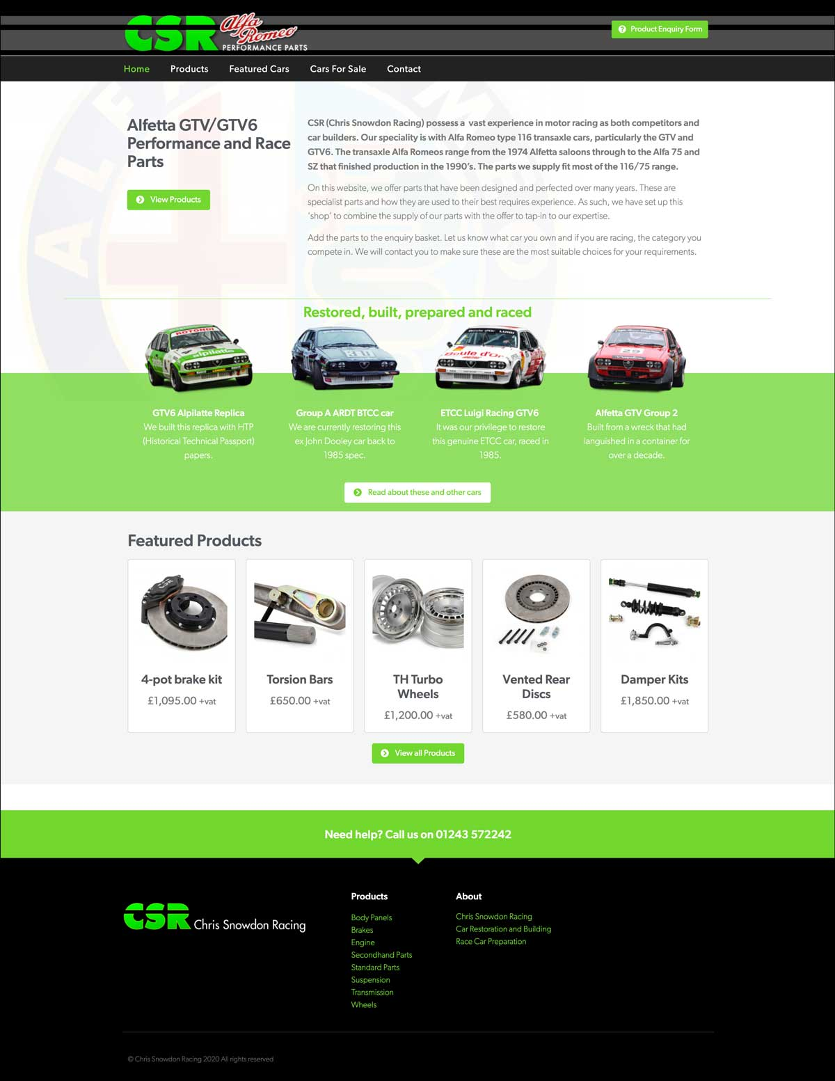 CSR Alfa Romeo Performance Parts website home page
