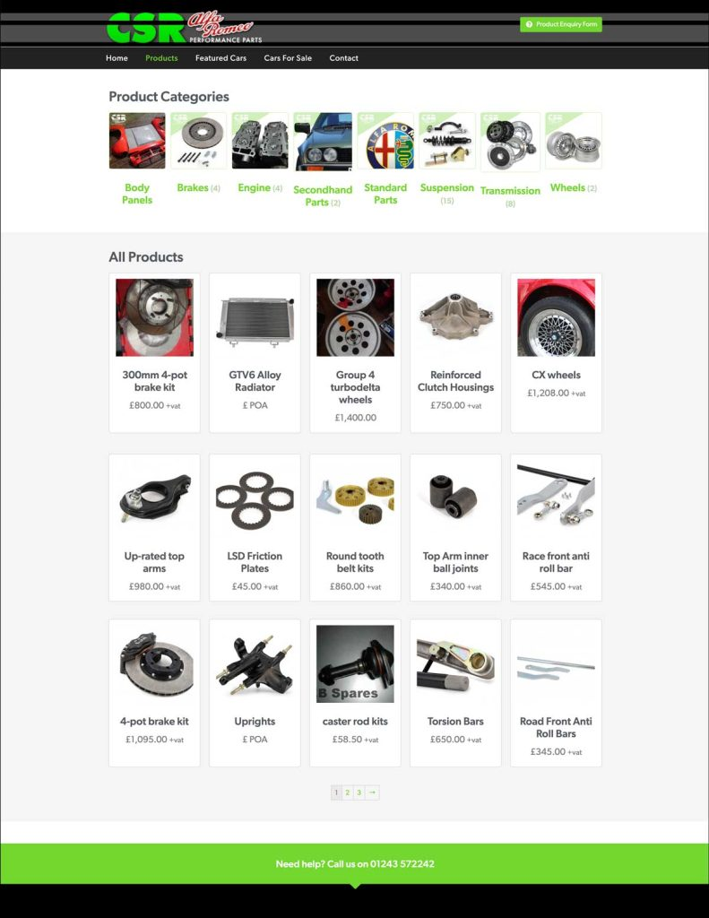 CSR Alfa Romeo Performance Parts website products list page