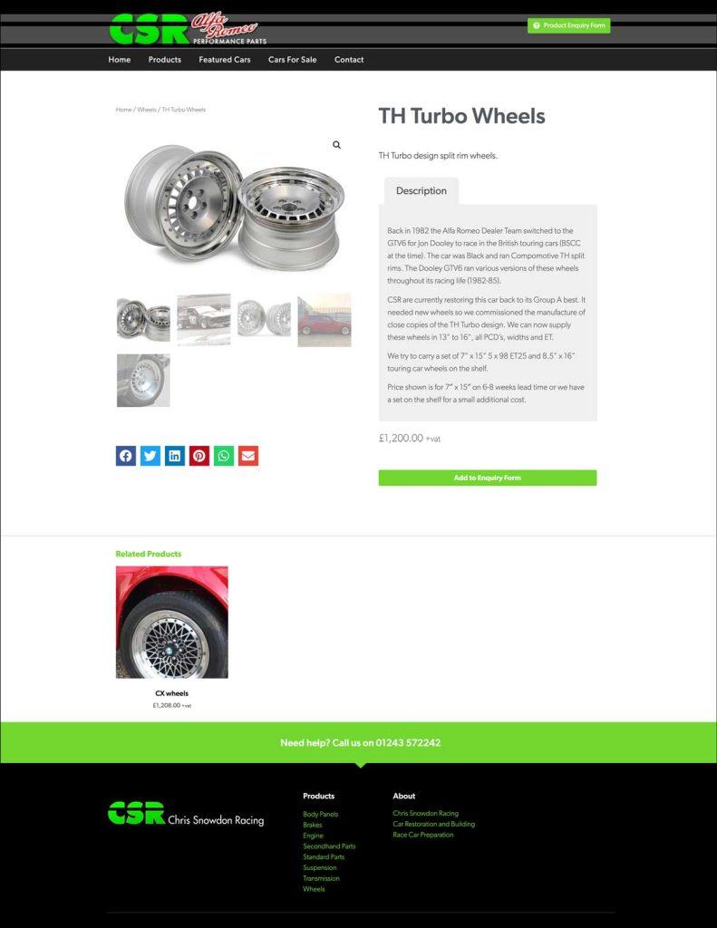 CSR Alfa Romeo Performance Parts website product page