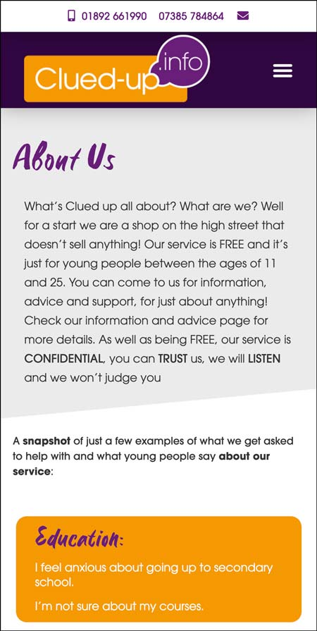 Crowborough Clued Up Information Shop website responsive view if the information page