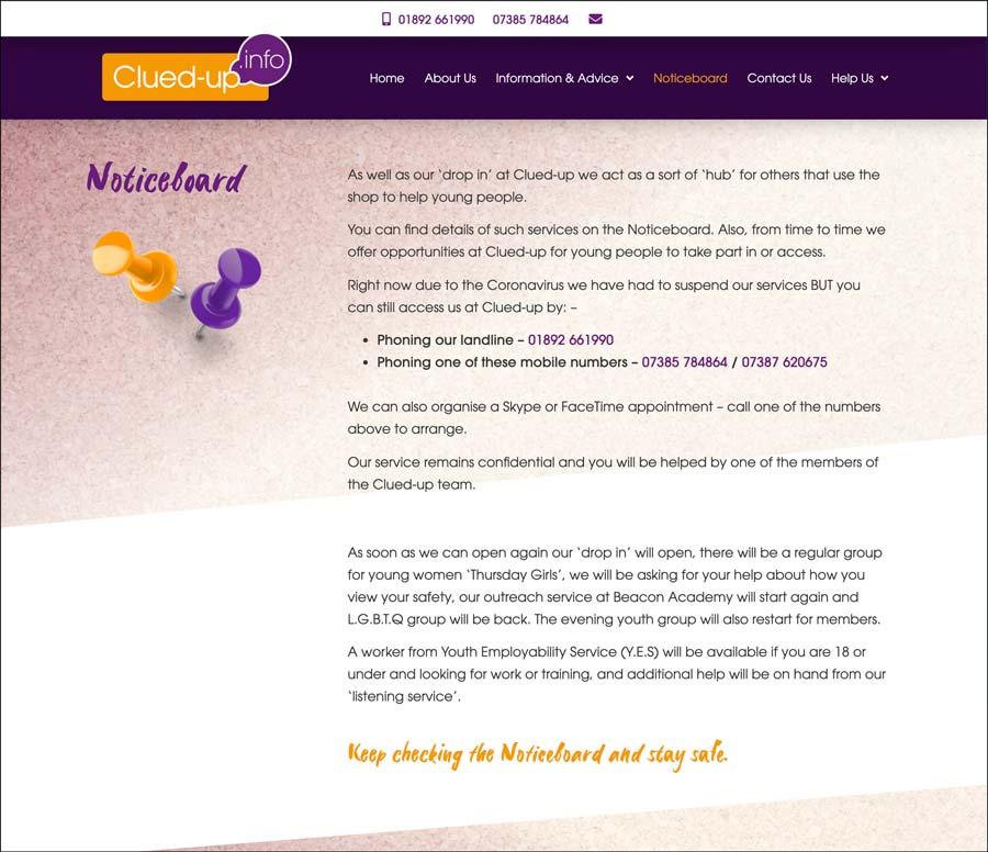 Crowborough Clued Up Information Shop website noticeboard page
