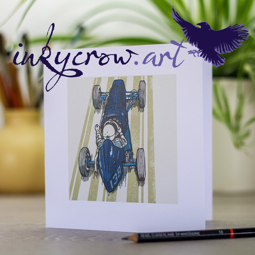 InkyCrowArt brand logo and greeting card example